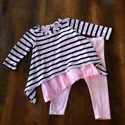 Splendid baby infant girls 2 piece outfit top and leggings size 6/12 months pink