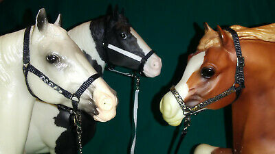 Model Horse HALTERS/LEADS Lot of 3. Mixed BLACK  Fits Breyer Traditional models.