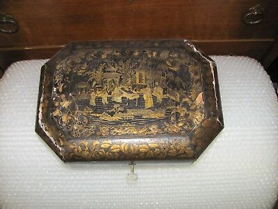 19th C Antique Chinese Gold Lacquer Sewing Box & Tools needs a little work