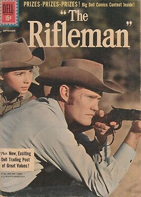 1961 Sept # 8 The Rifleman Western Cowboy Vintage Dell 15 Cent Comic Book