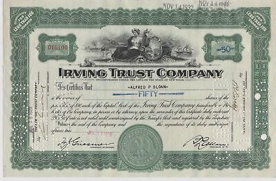 Irving Trust Company. New York. 1929. Issued, Signed, Cancelled. Alfred P. Sloan