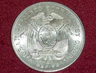 Gem Unc 1944 Equador 5 / Cinco Sucres, .720 Silver, Mexico City Mint