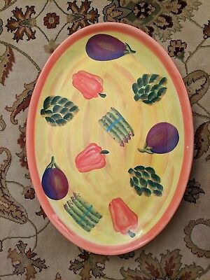 222 FIFTH GIARDINO OVAL SERVING PLATTER 16x22,VEGETABLES ON YELLOW RED TRIM.