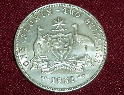 Scarce Australia 1931 King George V Silver Florin, Super High Grade