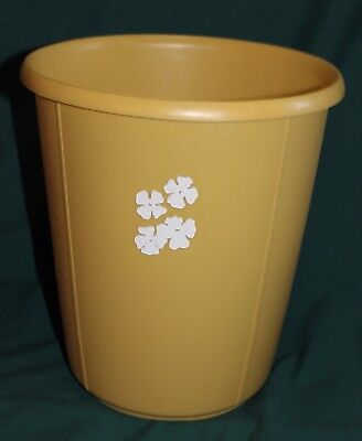 Vintage Retro Round Yellow Gold Rubbermaid Vanity Wastebasket Mod Daisy Flowers