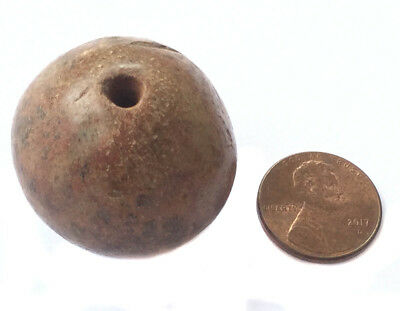 1PC Old Ancient  Antique spindle whorl clay African trade bead
