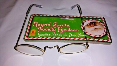 Santa  Eyeglasses  Costume Clear Gold  Round Frames Theatrical