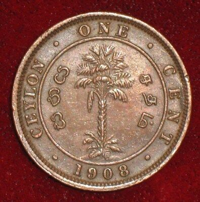 1908, 1 Cent from Ceylon.  No Reserve!