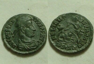 Constantius II spearing enemy horse rider battle/Rare ancient Roman coin/347 AD