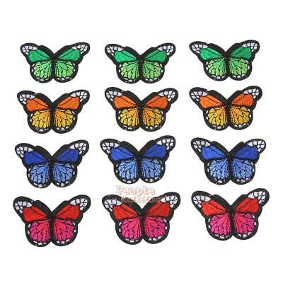 12pcs Butterfly Applique Clothing Embroidery Patch Sticker Iron On Sew Cloth DIY