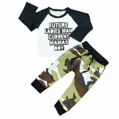 Toddler Kids Baby Boys Girls Clothes Long Sleeve T-shirt+Pants Outfits 2pcs Sets