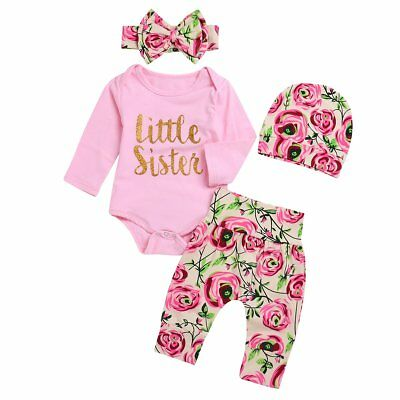 4PCS Newborn Infant Baby Girl Outfits Clothes Set Romper Bodysuit+Pants+Headband