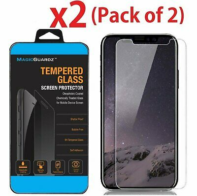 2X  Premium HD Clear Tempered Glass Screen Protector Guard for iPhone X
