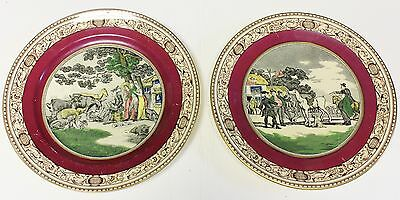 DR SYNTAX -- ADAMS COLLECTOR PLATES - British Satirical Humor- Antique Pair