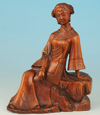 Chinese Old Boxwood Collection Handmade Carved Girl Statue Art Gift