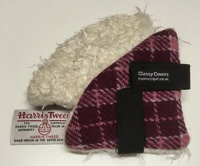 Raspberry HARRIS TWEED Riding Hat Ear Muffs Backed White Woolley   *gifts* 1pair