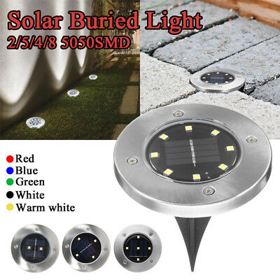 Solar Powered Inground LED Light Outdoor Garden Path Landscape Fence Yard Lamp