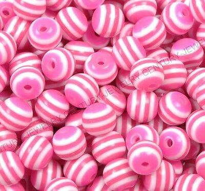 20Pcs Plum Zebra-Stripe Acrylic Spacer Loose Beads Jewelry Findings 10MM