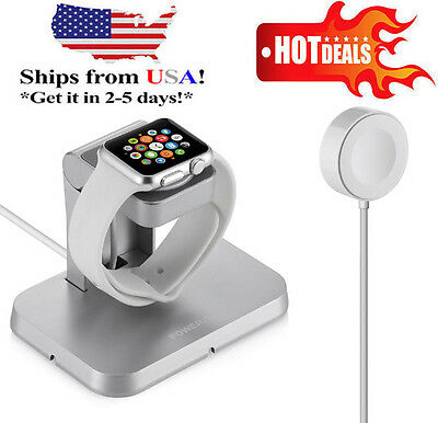 Magnetic Charger Charging Cable(1m) & Stand For Apple Watch iWatch 38mm 42mm MFi