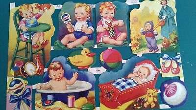 Vintage Style Die Cut  Paper Scraps New. Colourful Babies