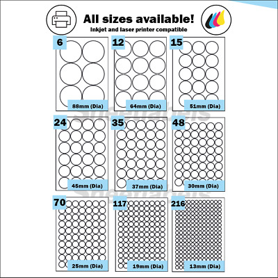 Round Self Adhesive circular A4 Laser or Inkjet printer labels. Circle Stickers