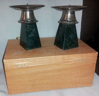 Heavy FINE SILVER  & GREEN STONE Jadeite Spike CANDLE STANDS. India NEW