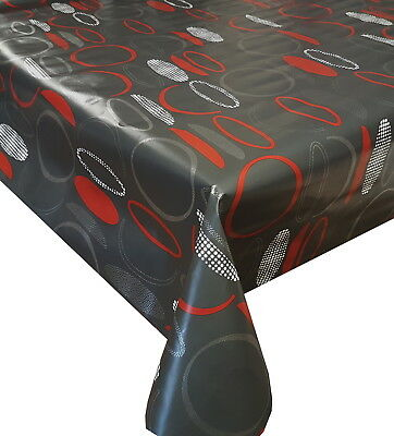 Pvc Table Cloth Bowls Red Grey Silver Funky Circles Geo Dots Wipe Able Protector