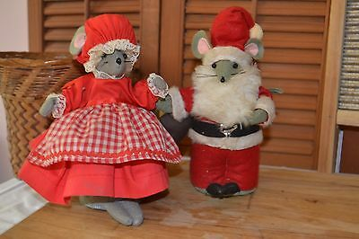 Vintage toy original Mr. Mrs. Santa Claus Mouse Handmade Mice