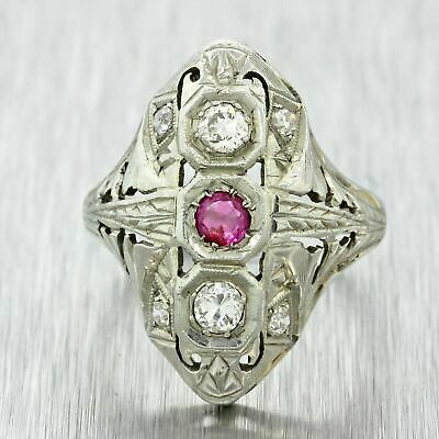 1930s Antique Art Deco 18k Solid White Gold .12ct Red Ruby .28ctw Diamond Ring