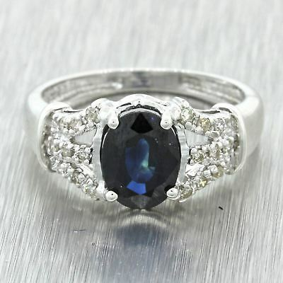 Vintage Estate 18k Solid White Gold 1.25ct Oval Sapphire .17ctw Diamond Ring