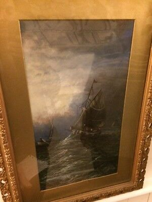 oil painting by G Beechey. ship in rough seas
