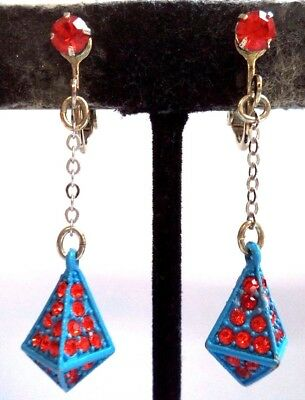 "Stunning Vintage Estate Red Rhinestone Blue Dangle 1 5/8"" Clip Earrings 9232X"