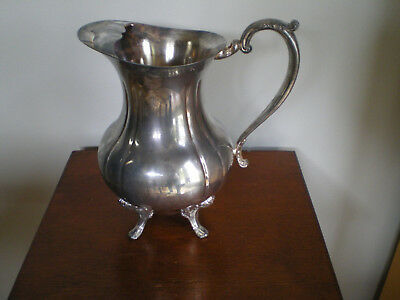 Vintage Silver Plated Footed Water Pitcher Ice Guard Silverplate ~ 9 inches