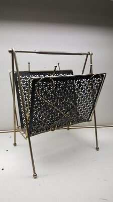 Vintage Mid Century Black Metal Mesh Brass Magazine Rack Holder