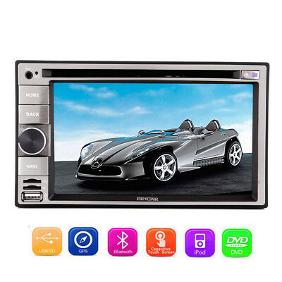 "Double 2 Din 6.2"" In Dash Stereo Car DVD Player Bluetooth Radio iPod SD GPSNavi"