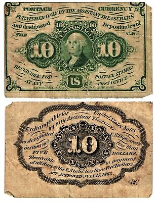 1862-67 10 CENT US Fractional Currency 1st Issue G Washington Stamp Fr#1242 CIRC
