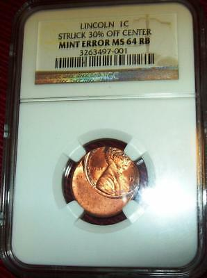 Lincoln Cent Coin Certified Ngc Ms 64 Rb Mint Error Struck 30% Off Center  1C