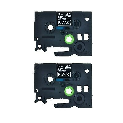 2PK TZ TZe 335 White on Black Label Tape For Brother P-Touch PT-1170 12mm 1/2""