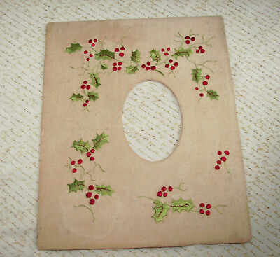 Antique Society Silk Embroidery Christmas Holly Picture Frame Mat