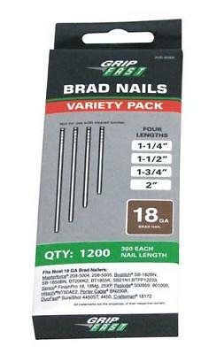 "1200 Assorted Length Brad Nails Variety Pack 300 each 1-1/4"", 1-1/2"", 1-3/4"", 2"""