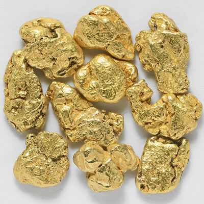 10 Pieces Alaskan Natural Gold Nuggets / Flakes - FREE SHIPPING - (#182c0.5-1m)