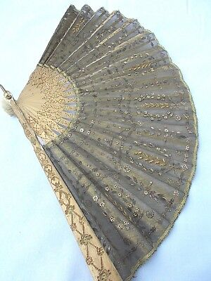 Exquisite fan...tiny gold & silver floral sequins  c. 1920
