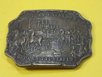 Vintage Brass American Express Co. Belt Buckle Wells Butterfield & Co.