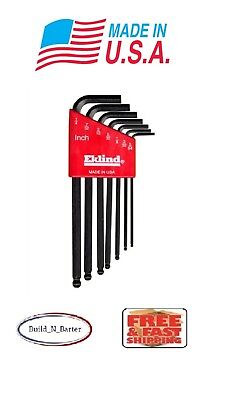 Eklind SAE Inches Long Arm Ball Hex L Key Allen Wrench 7 piece Set or Individual