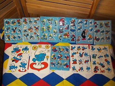 Smurf lot of 7 puffy and 4 flat stickers 80's 1980 vintage