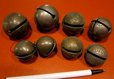 8 Small Antique Brass Sleigh Bells Shaft Jingle - CRAFTERS