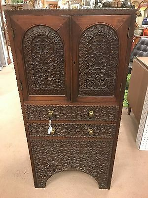 Carved Teak Asian Music Cabinet - Indo Anglo