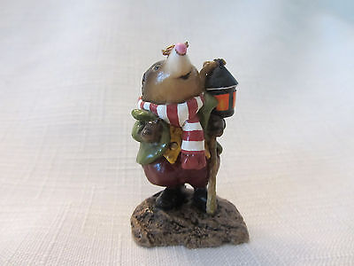 Wee Forest Folk (WFF) Mr Mole Holding Lantern w/ Olive Coat Brown/White Scarf