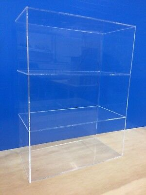 "Acrylic Lucite Countertop Display ShowCase  Cabinet 12"" x 8"" x 16""h 2 shelves"