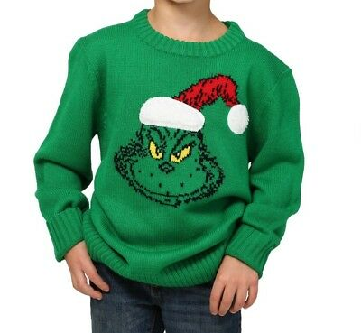Dr. Seuss The Grinch Ugly Christmas Sweater Kids Youth Size Small (S) Green NWT